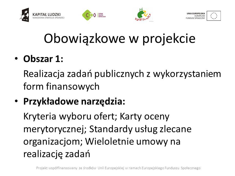 Obowiązkowe w projekcie Obszar 1: Realizacja zadań publicznych z wykorzystaniem form finansowych Przykładowe narzędzia: Kryteria wyboru ofert; Karty oceny merytorycznej; Standardy usług zlecane organizacjom; Wieloletnie umowy na realizację zadań Projekt współfinansowany ze środków Unii Europejskiej w ramach Europejskiego Funduszu Społecznego