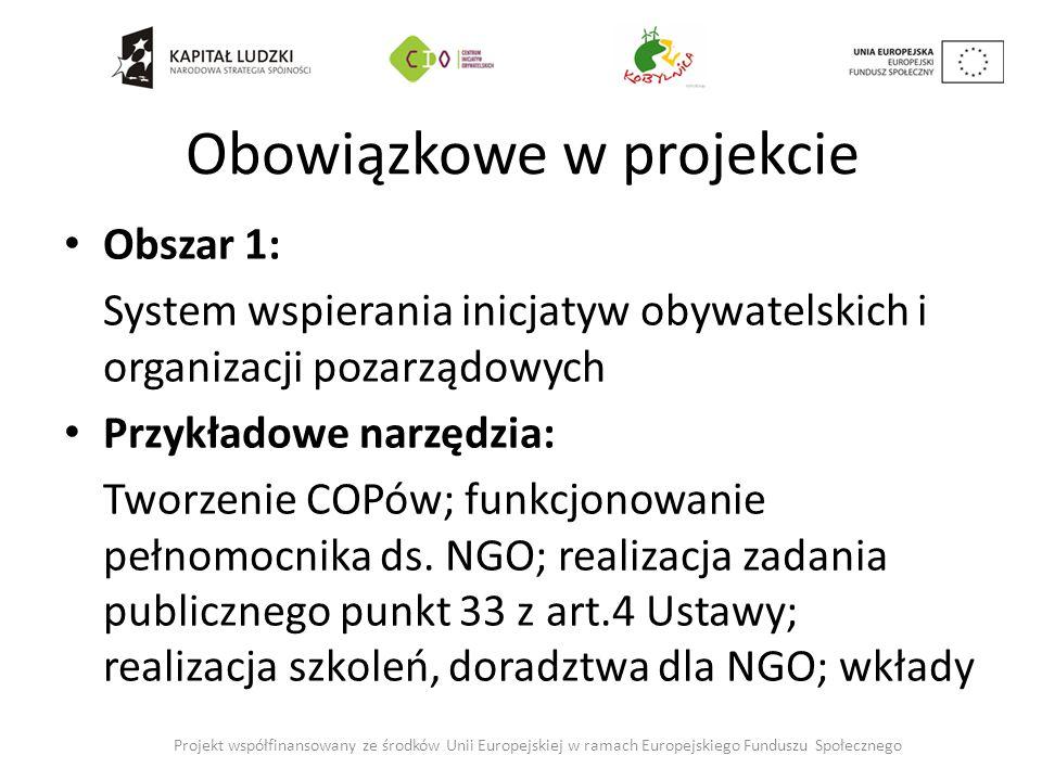 Obowiązkowe w projekcie Obszar 1: System wspierania inicjatyw obywatelskich i organizacji pozarządowych Przykładowe narzędzia: Tworzenie COPów; funkcjonowanie pełnomocnika ds.