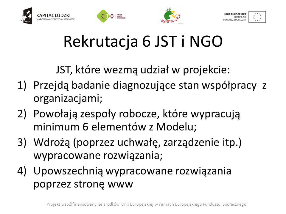 Rekrutacja 6 JST i NGO JST, które wezmą udział w projekcie: 1)Przejdą badanie diagnozujące stan współpracy z organizacjami; 2)Powołają zespoły robocze, które wypracują minimum 6 elementów z Modelu; 3)Wdrożą (poprzez uchwałę, zarządzenie itp.) wypracowane rozwiązania; 4)Upowszechnią wypracowane rozwiązania poprzez stronę www Projekt współfinansowany ze środków Unii Europejskiej w ramach Europejskiego Funduszu Społecznego