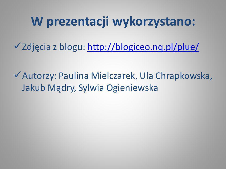 W prezentacji wykorzystano: Zdjęcia z blogu: http://blogiceo.nq.pl/plue/http://blogiceo.nq.pl/plue/ Autorzy: Paulina Mielczarek, Ula Chrapkowska, Jakub Mądry, Sylwia Ogieniewska