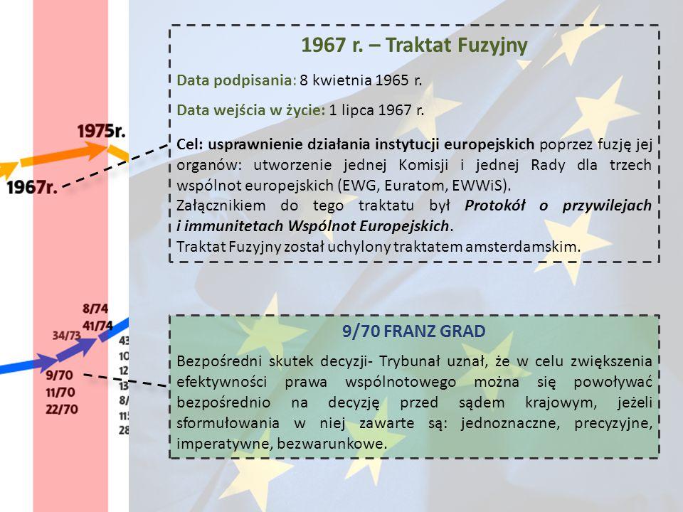 1967 r. – Traktat Fuzyjny Data podpisania: 8 kwietnia 1965 r. Data wejścia w życie: 1 lipca 1967 r. Cel: usprawnienie działania instytucji europejskic