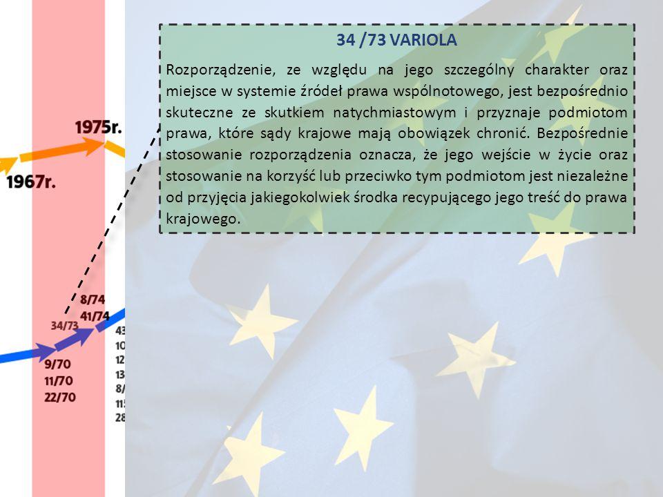 34 /73 VARIOLA Rozporządzenie, ze względu na jego szczególny charakter oraz miejsce w systemie źródeł prawa wspólnotowego, jest bezpośrednio skuteczne