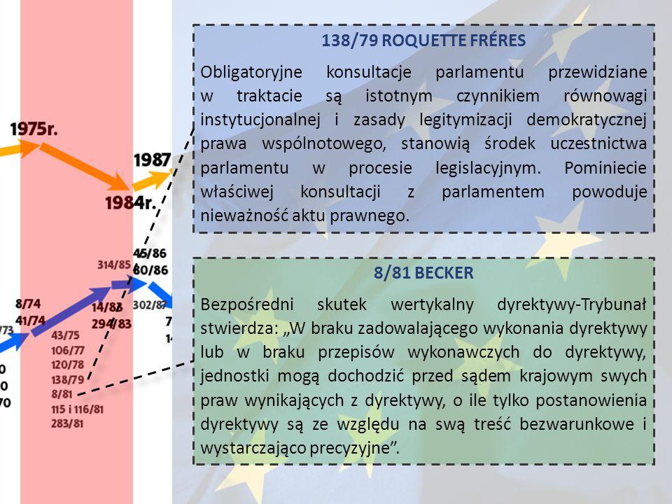 138/79 ROQUETTE FRÉRES Obligatoryjne konsultacje parlamentu przewidziane w traktacie są istotnym czynnikiem równowagi instytucjonalnej i zasady legity