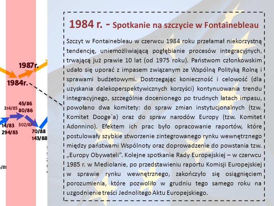 1984 r. - Spotkanie na szczycie w Fontainebleau Szczyt w Fontainebleau w czerwcu 1984 roku przełamał niekorzystną tendencję, uniemożliwiającą pogłębia