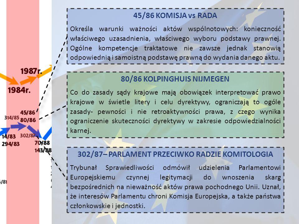45/86 KOMISJA vs RADA Określa warunki ważności aktów wspólnotowych: konieczność właściwego uzasadnienia, właściwego wyboru podstawy prawnej. Ogólne ko
