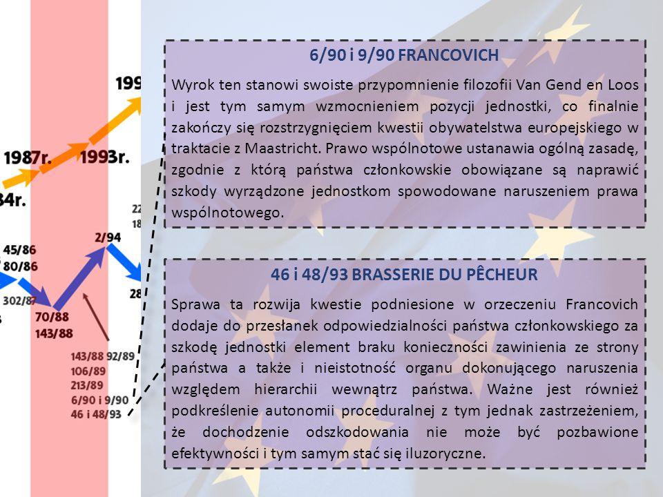 6/90 i 9/90 FRANCOVICH Wyrok ten stanowi swoiste przypomnienie filozofii Van Gend en Loos i jest tym samym wzmocnieniem pozycji jednostki, co finalnie