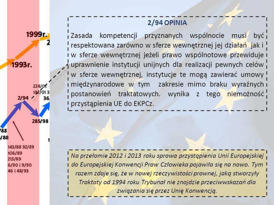 2/94 OPINIA Zasada kompetencji przyznanych wspólnocie musi być respektowana zarówno w sferze wewnętrznej jej działań jak i w sferze wewnętrznej jeżeli