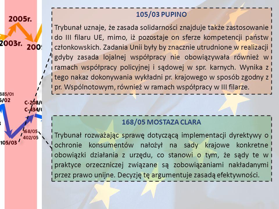 105/03 PUPINO Trybunał uznaje, że zasada solidarności znajduje także zastosowanie do III filaru UE, mimo, iż pozostaje on sferze kompetencji państw cz