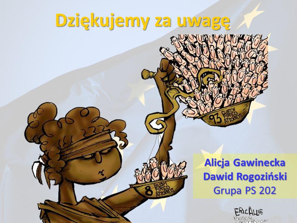 Dziękujemy za uwagę Alicja Gawinecka Dawid Rogoziński Grupa PS 202