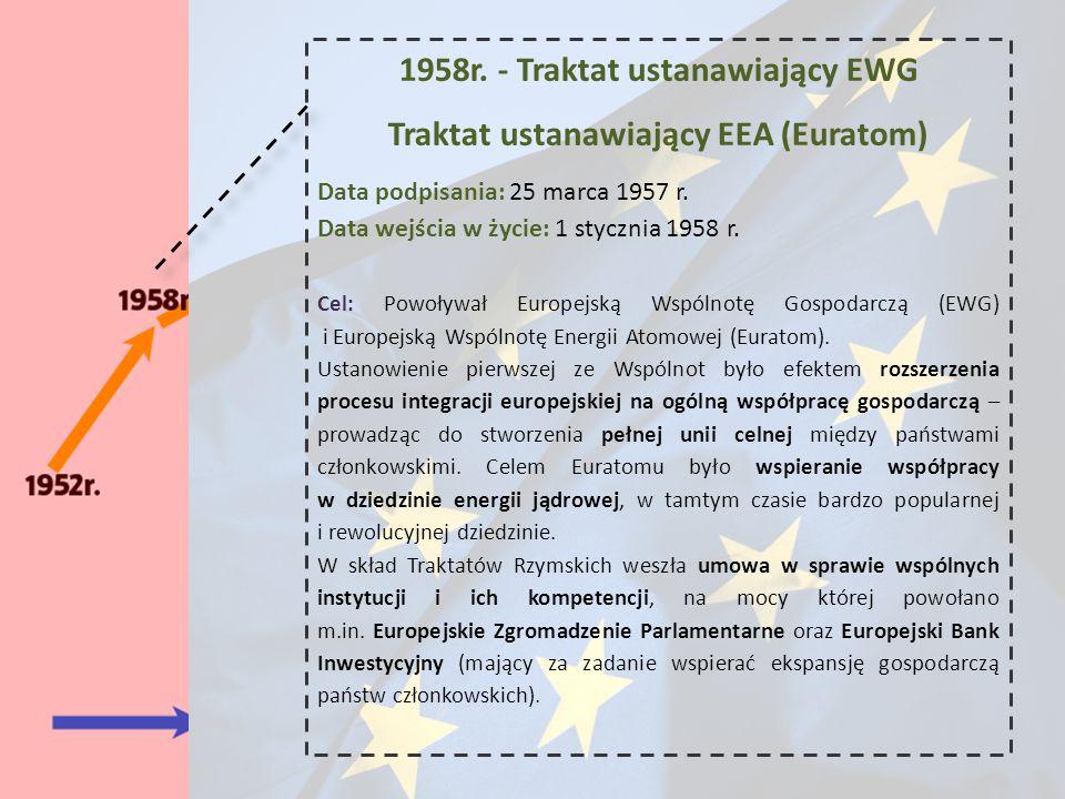 1958r. - Traktat ustanawiający EWG Traktat ustanawiający EEA (Euratom) Data podpisania: 25 marca 1957 r. Data wejścia w życie: 1 stycznia 1958 r. Cel: