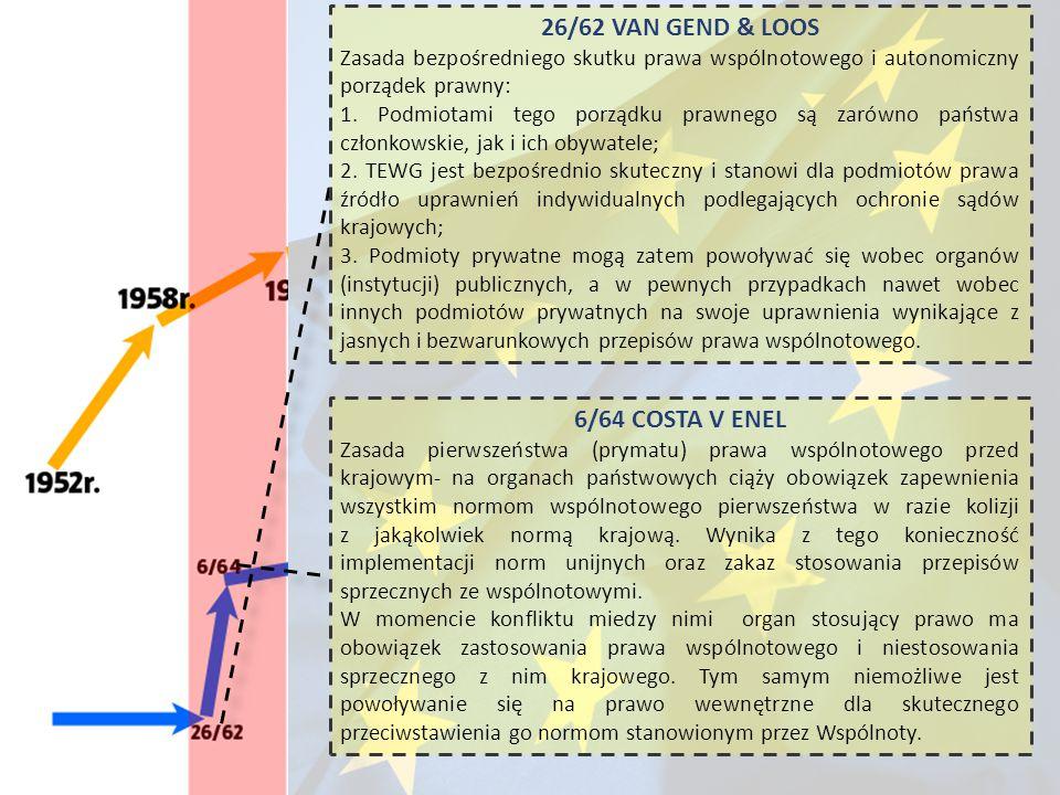 26/62 VAN GEND & LOOS Zasada bezpośredniego skutku prawa wspólnotowego i autonomiczny porządek prawny: 1. Podmiotami tego porządku prawnego są zarówno