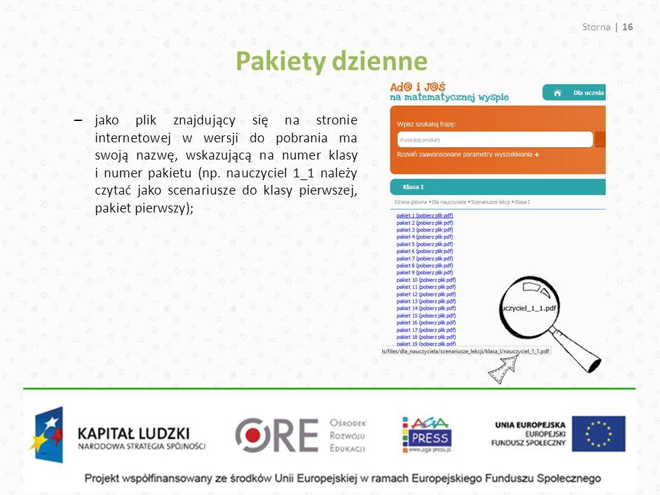 Pakiety dzienne Storna | 16 – jako plik znajdujący się na stronie internetowej w wersji do pobrania ma swoją nazwę, wskazującą na numer klasy i numer