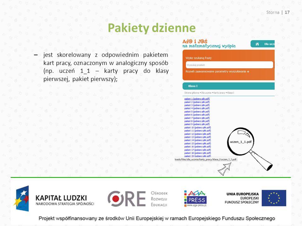 Pakiety dzienne Storna | 17 – jest skorelowany z odpowiednim pakietem kart pracy, oznaczonym w analogiczny sposób (np. uczeń 1_1 – karty pracy do klas