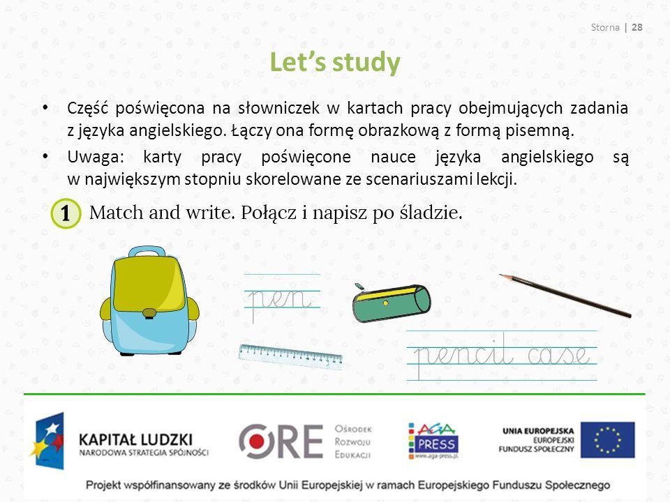 Let's study Storna | 28 Część poświęcona na słowniczek w kartach pracy obejmujących zadania z języka angielskiego. Łączy ona formę obrazkową z formą p
