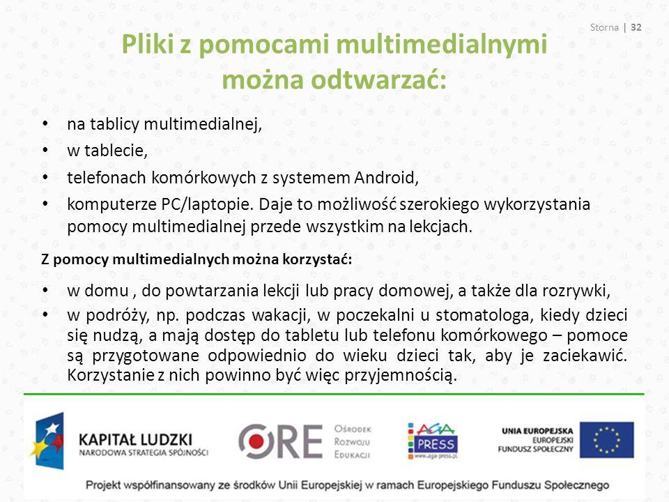 Pliki z pomocami multimedialnymi można odtwarzać: Storna | 32 na tablicy multimedialnej, w tablecie, telefonach komórkowych z systemem Android, komput