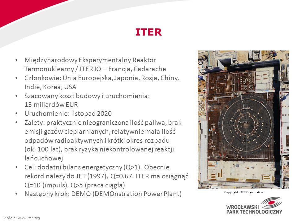 ITER Międzynarodowy Eksperymentalny Reaktor Termonuklearny / ITER IO – Francja, Cadarache Członkowie: Unia Europejska, Japonia, Rosja, Chiny, Indie, K