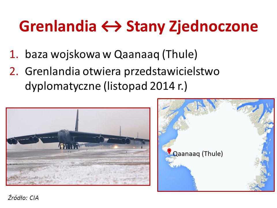 Grenlandia ↔ Stany Zjednoczone 1.baza wojskowa w Qaanaaq (Thule) 2.Grenlandia otwiera przedstawicielstwo dyplomatyczne (listopad 2014 r.) Źródło: CIA