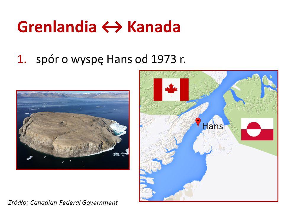 Grenlandia ↔ Kanada 1. spór o wyspę Hans od 1973 r. Źródło: Canadian Federal Government
