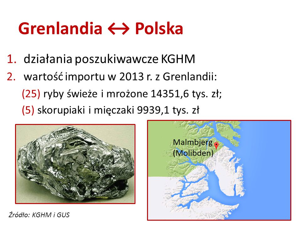 Grenlandia ↔ Polska 1.działania poszukiwawcze KGHM 2.wartość importu w 2013 r.
