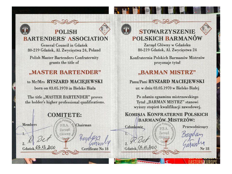 Ośrodek prowadzony jest przez Master - Bartendera, Ryszarda Maciejewskiego. Brand Ambasadora marek Bacardi – Martini w Polsce,.