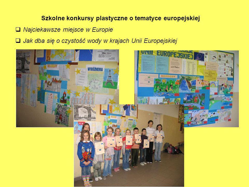 Szkolne konkursy plastyczne o tematyce europejskiej  Najciekawsze miejsce w Europie  Jak dba się o czystość wody w krajach Unii Europejskiej