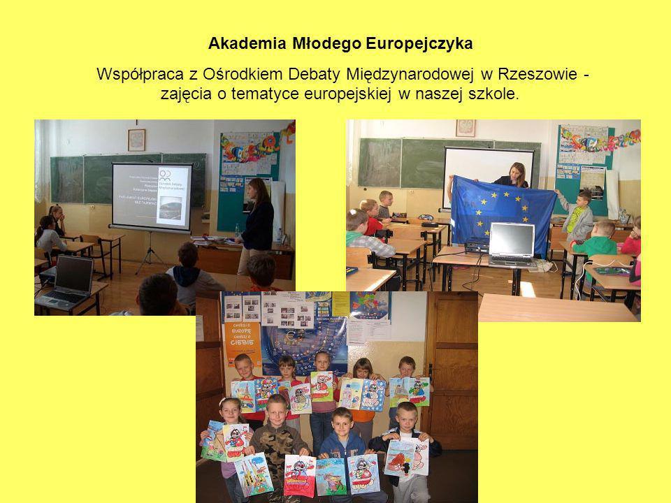 Akademia Młodego Europejczyka Współpraca z Ośrodkiem Debaty Międzynarodowej w Rzeszowie - zajęcia o tematyce europejskiej w naszej szkole.