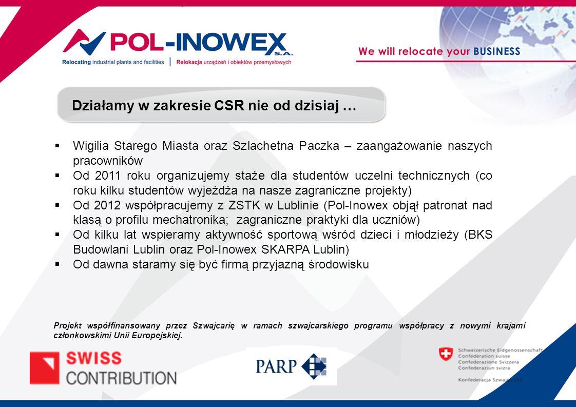 Działalność CSR nagrodzona Nagroda Gospodarcza Prezydenta Miasta Lublin 2013 w kategorii – Ład korporacyjny i Społeczna odpowiedzialność Biznesu Projekt współfinansowany przez Szwajcarię w ramach szwajcarskiego programu współpracy z nowymi krajami członkowskimi Unii Europejskiej.