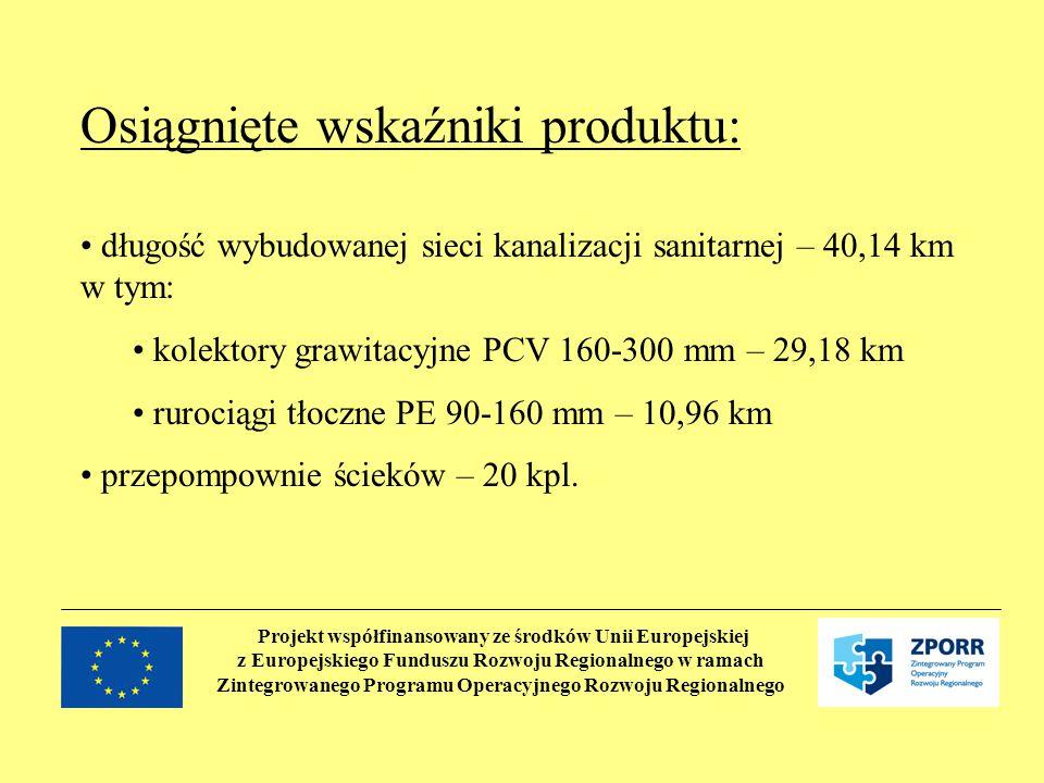 Projekt współfinansowany ze środków Unii Europejskiej z Europejskiego Funduszu Rozwoju Regionalnego w ramach Zintegrowanego Programu Operacyjnego Rozwoju Regionalnego Osiągnięte wskaźniki produktu: długość wybudowanej sieci kanalizacji sanitarnej – 40,14 km w tym: kolektory grawitacyjne PCV 160-300 mm – 29,18 km rurociągi tłoczne PE 90-160 mm – 10,96 km przepompownie ścieków – 20 kpl.