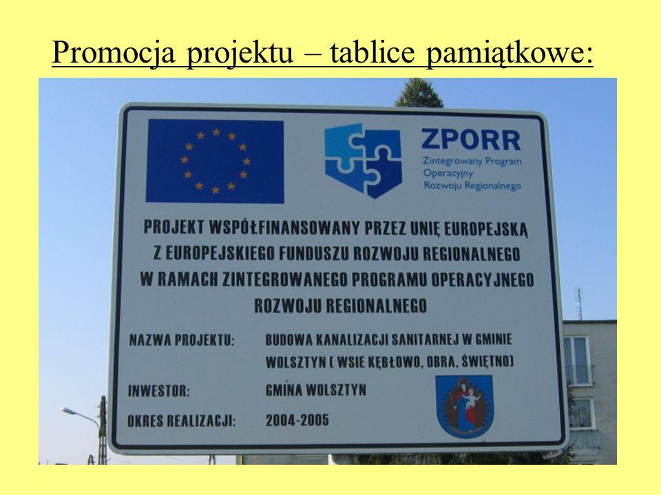 Promocja projektu – tablice pamiątkowe: