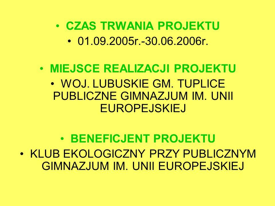 CZAS TRWANIA PROJEKTU 01.09.2005r.-30.06.2006r. MIEJSCE REALIZACJI PROJEKTU WOJ.