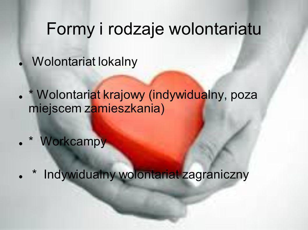 Formy i rodzaje wolontariatu Wolontariat lokalny * Wolontariat krajowy (indywidualny, poza miejscem zamieszkania) * Workcampy * Indywidualny wolontari