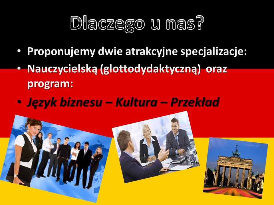 Proponujemy dwie atrakcyjne specjalizacje: Proponujemy dwie atrakcyjne specjalizacje: Nauczycielską (glottodydaktyczną) oraz program: Nauczycielską (glottodydaktyczną) oraz program: Język biznesu – Kultura – Przekład Język biznesu – Kultura – Przekład