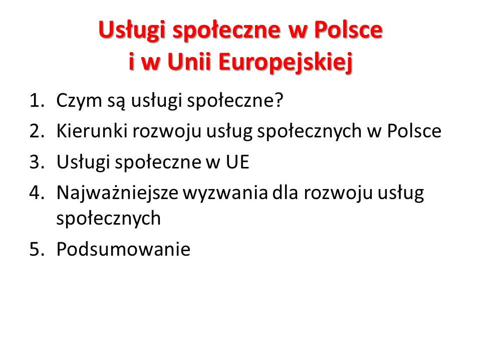 Usługi społeczne w Polsce i w Unii Europejskiej 1.Czym są usługi społeczne.