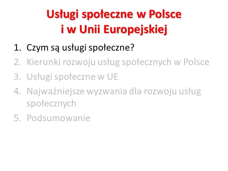 Usługi społeczne w Polsce i w Unii Europejskiej 1.Czym są usługi społeczne? 2.Kierunki rozwoju usług społecznych w Polsce 3.Usługi społeczne w UE 4.Na