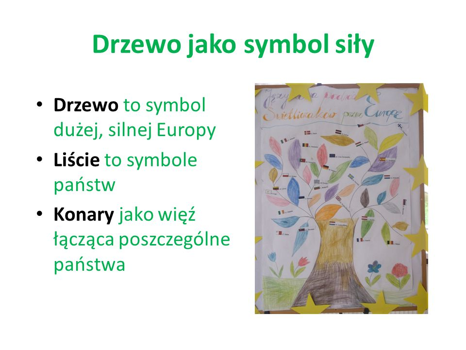 Drzewo jako symbol siły Drzewo to symbol dużej, silnej Europy Liście to symbole państw Konary jako więź łącząca poszczególne państwa