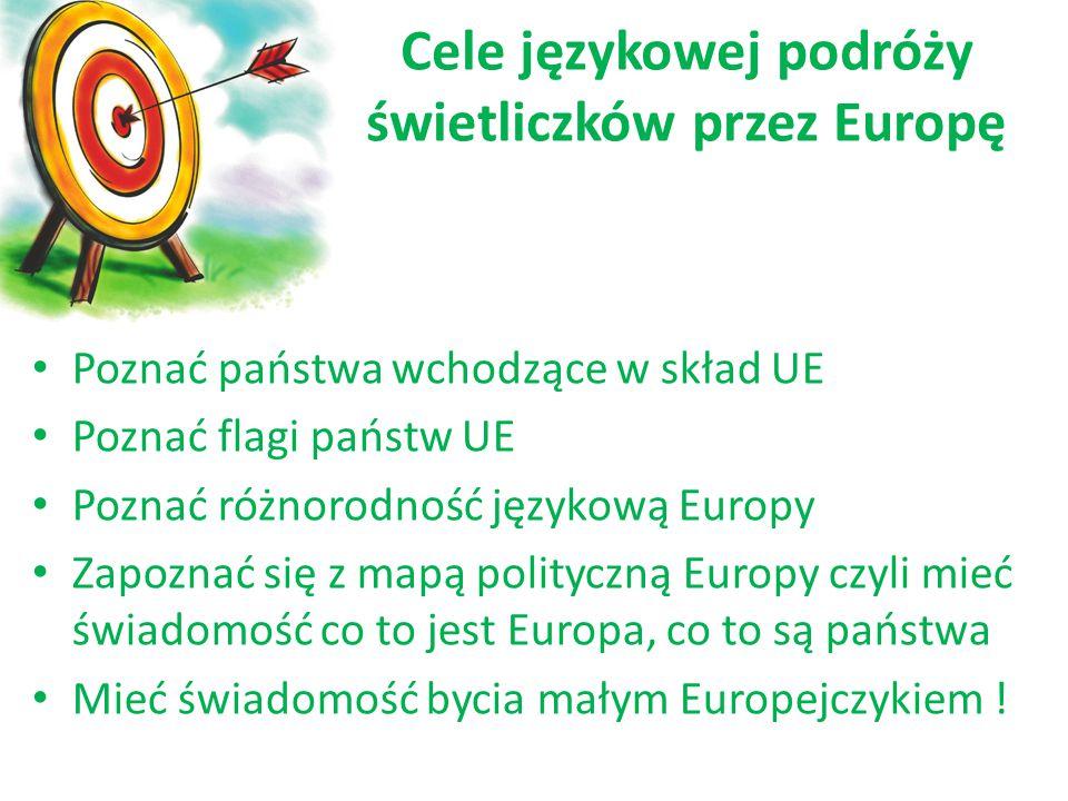 Poznać państwa wchodzące w skład UE Poznać flagi państw UE Poznać różnorodność językową Europy Zapoznać się z mapą polityczną Europy czyli mieć świado