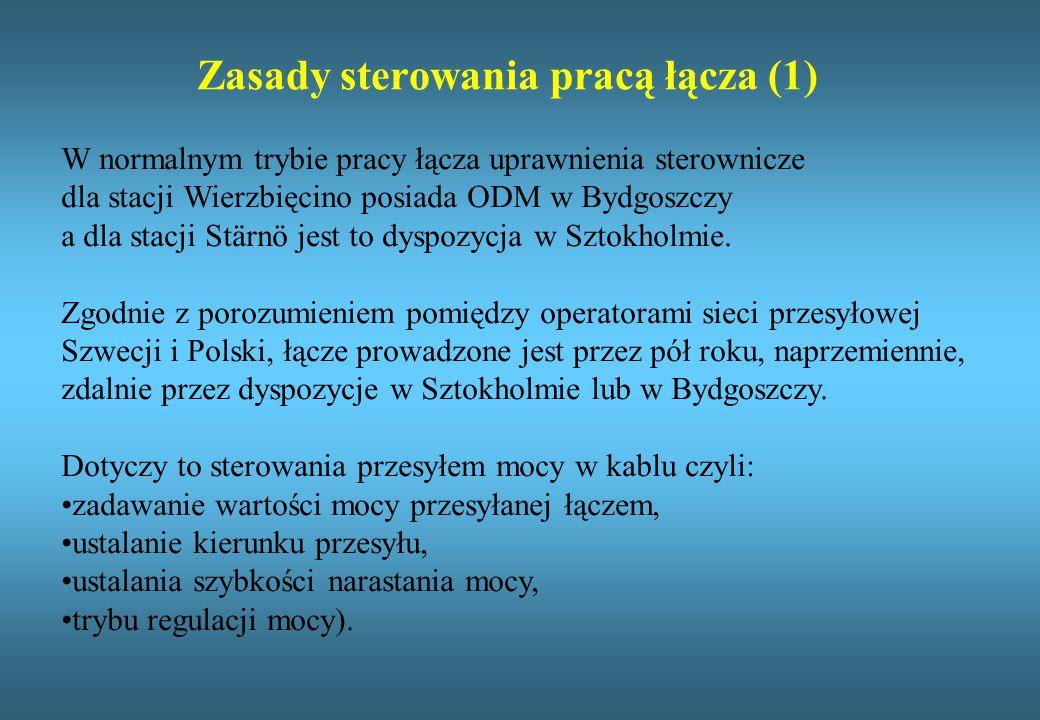 Zasady sterowania pracą łącza (1) W normalnym trybie pracy łącza uprawnienia sterownicze dla stacji Wierzbięcino posiada ODM w Bydgoszczy a dla stacji