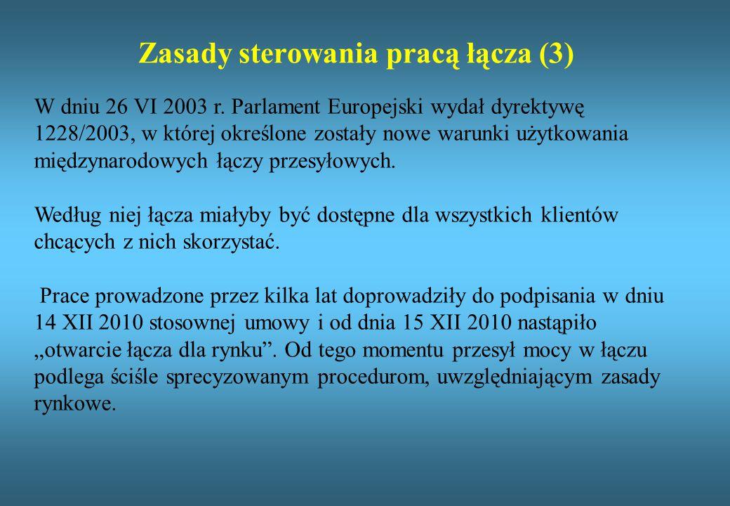 Zasady sterowania pracą łącza (3) W dniu 26 VI 2003 r. Parlament Europejski wydał dyrektywę 1228/2003, w której określone zostały nowe warunki użytkow