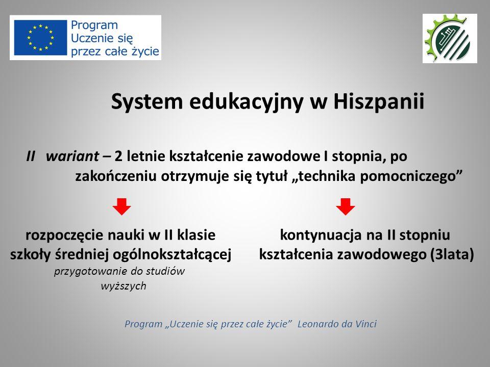 """II wariant – 2 letnie kształcenie zawodowe I stopnia, po zakończeniu otrzymuje się tytuł """"technika pomocniczego"""" System edukacyjny w Hiszpanii Program"""