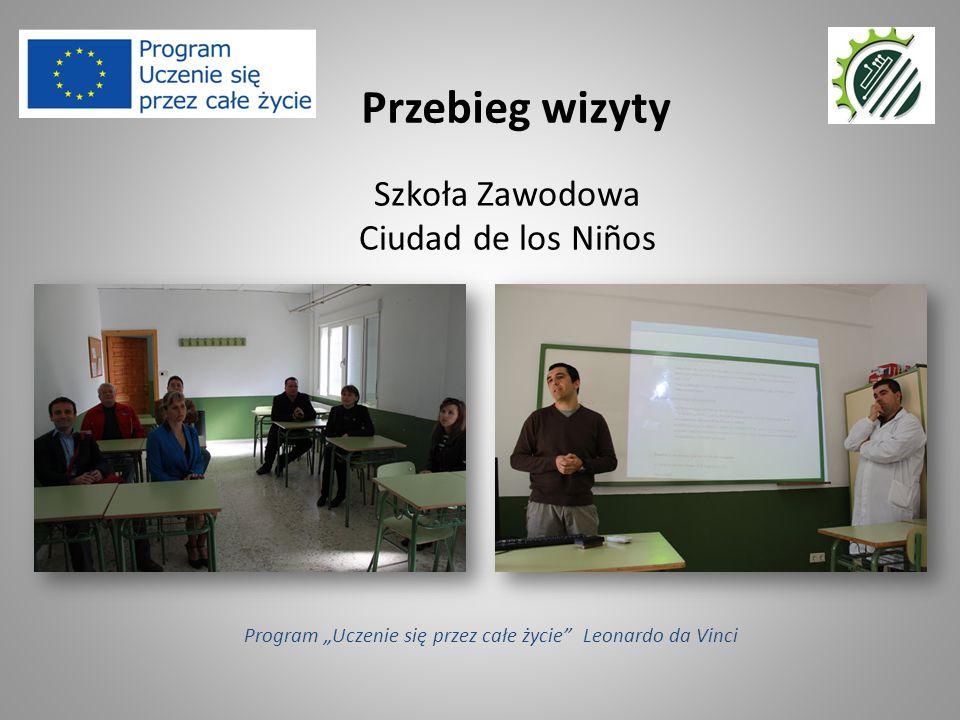 """Szkoła Zawodowa Ciudad de los Niños Przebieg wizyty Program """"Uczenie się przez całe życie Leonardo da Vinci"""
