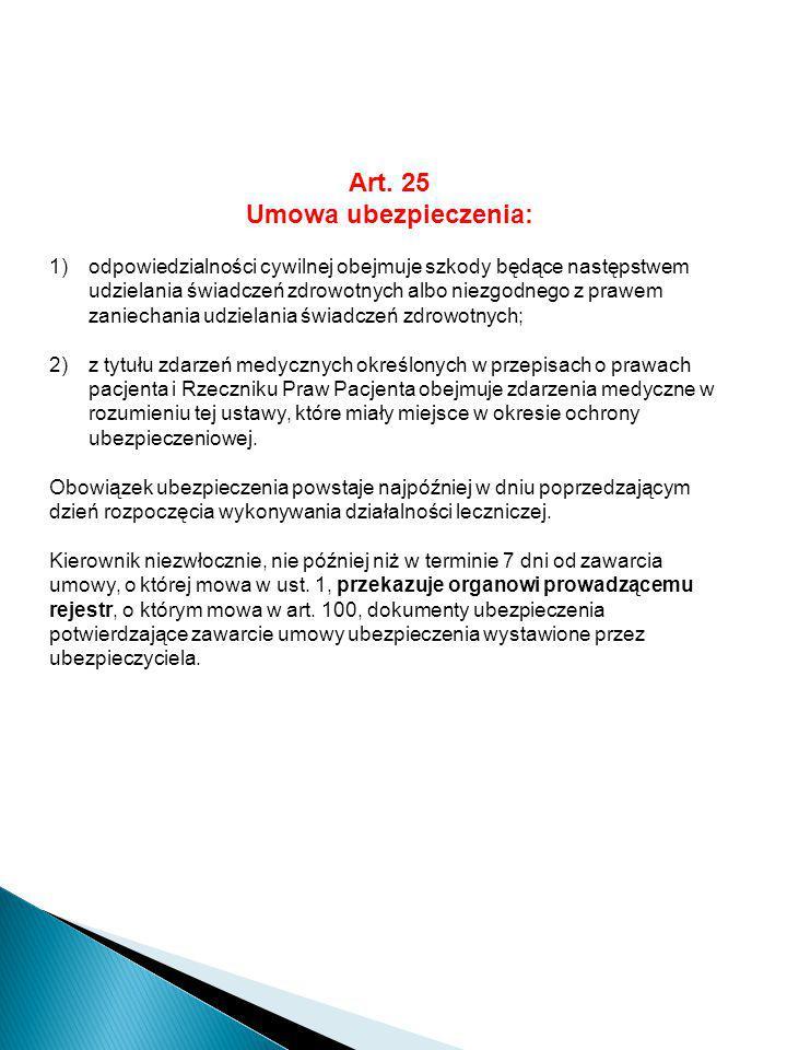 Art. 25 Umowa ubezpieczenia: 1)odpowiedzialności cywilnej obejmuje szkody będące następstwem udzielania świadczeń zdrowotnych albo niezgodnego z prawe