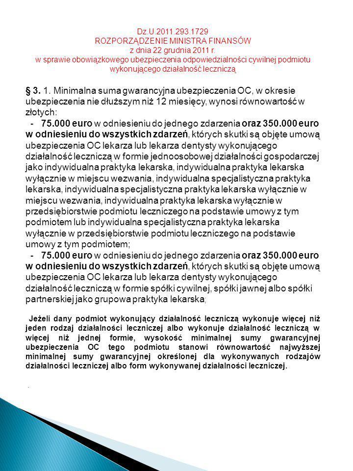 Dz.U.2011.293.1729 ROZPORZĄDZENIE MINISTRA FINANSÓW z dnia 22 grudnia 2011 r. w sprawie obowiązkowego ubezpieczenia odpowiedzialności cywilnej podmiot