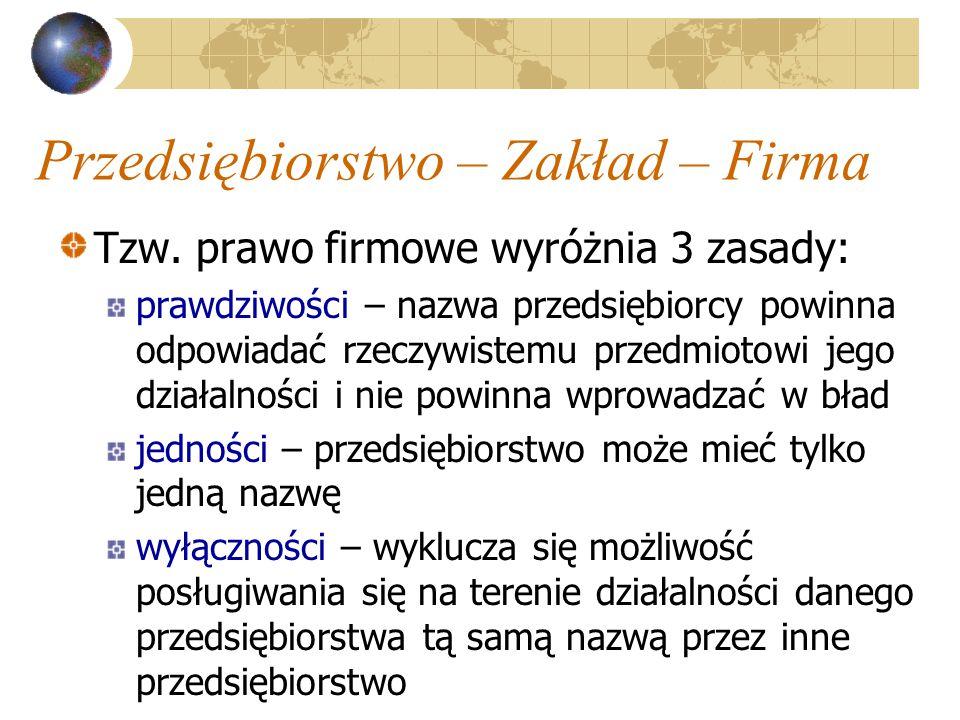 Przedsiębiorstwo – Zakład – Firma Tzw.