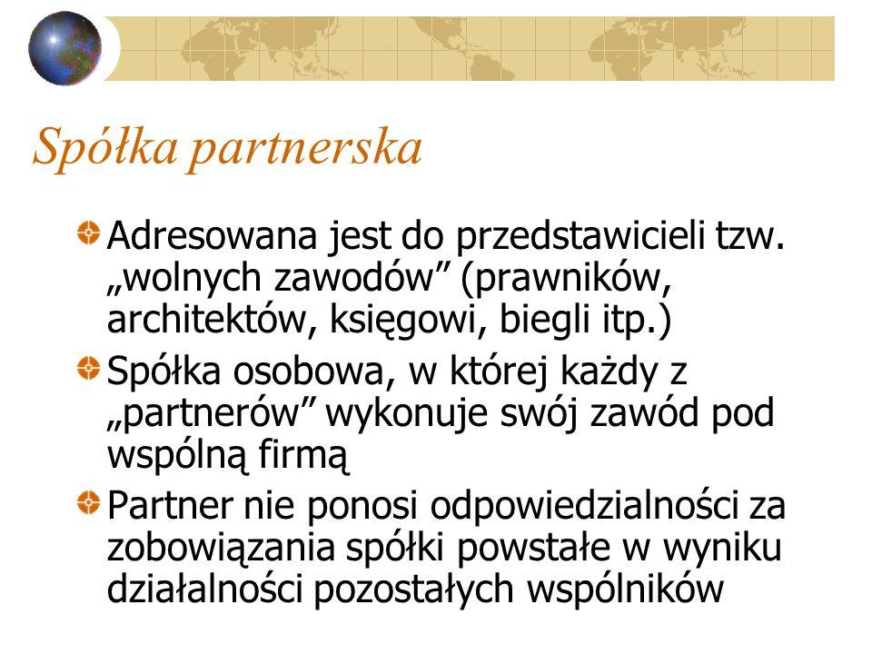 Spółka partnerska Adresowana jest do przedstawicieli tzw.