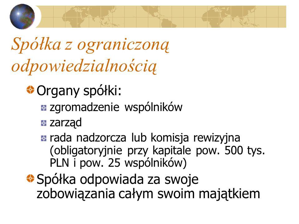 Spółka z ograniczoną odpowiedzialnością Organy spółki: zgromadzenie wspólników zarząd rada nadzorcza lub komisja rewizyjna (obligatoryjnie przy kapitale pow.