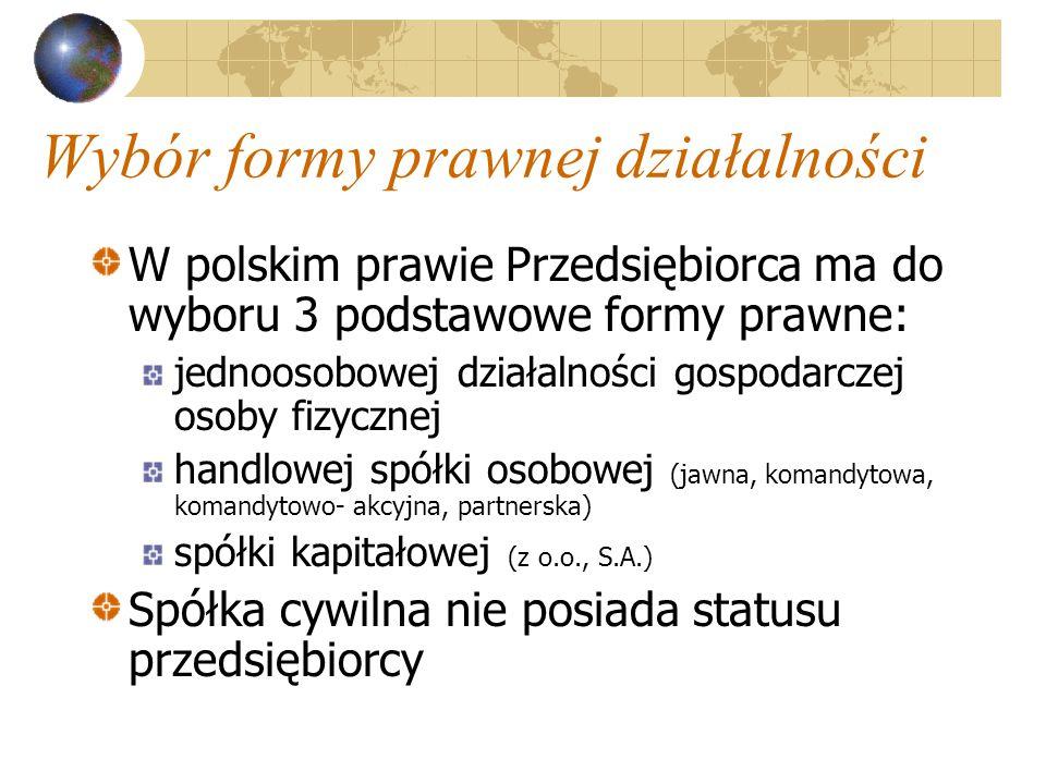 Wybór formy prawnej działalności W polskim prawie Przedsiębiorca ma do wyboru 3 podstawowe formy prawne: jednoosobowej działalności gospodarczej osoby fizycznej handlowej spółki osobowej (jawna, komandytowa, komandytowo- akcyjna, partnerska) spółki kapitałowej (z o.o., S.A.) Spółka cywilna nie posiada statusu przedsiębiorcy