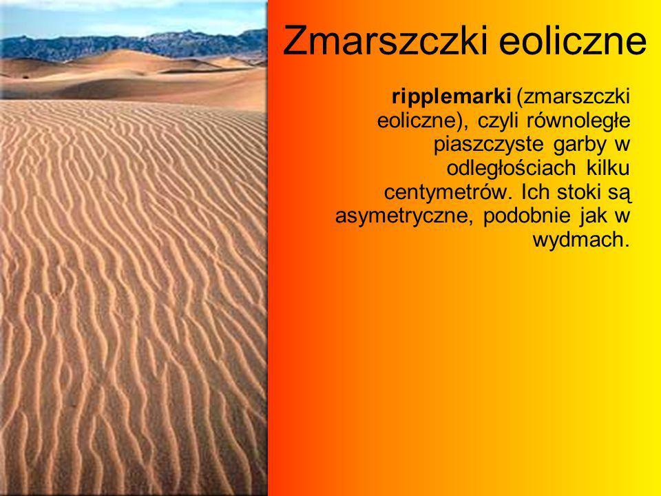 Zmarszczki eoliczne ripplemarki (zmarszczki eoliczne), czyli równoległe piaszczyste garby w odległościach kilku centymetrów. Ich stoki są asymetryczne
