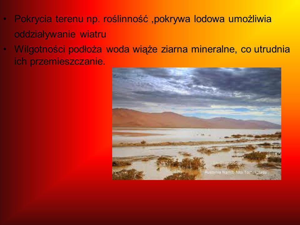Pokrycia terenu np. roślinność,pokrywa lodowa umożliwia oddziaływanie wiatru Wilgotności podłoża woda wiąże ziarna mineralne, co utrudnia ich przemies