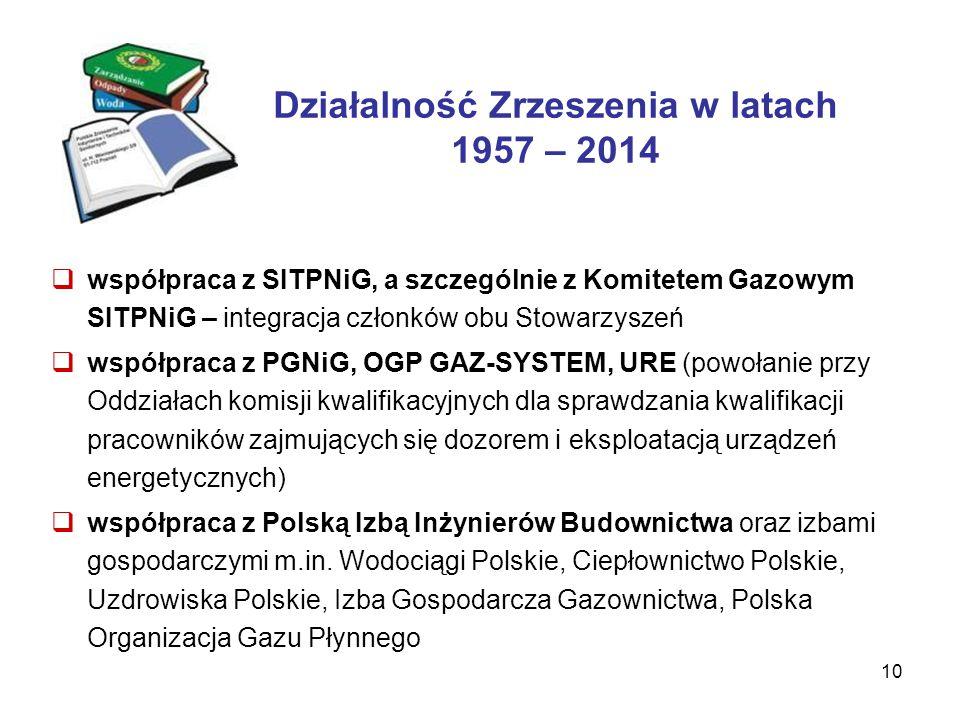 10 Działalność Zrzeszenia w latach 1957 – 2014  współpraca z SITPNiG, a szczególnie z Komitetem Gazowym SITPNiG – integracja członków obu Stowarzyszeń  współpraca z PGNiG, OGP GAZ-SYSTEM, URE (powołanie przy Oddziałach komisji kwalifikacyjnych dla sprawdzania kwalifikacji pracowników zajmujących się dozorem i eksploatacją urządzeń energetycznych)  współpraca z Polską Izbą Inżynierów Budownictwa oraz izbami gospodarczymi m.in.