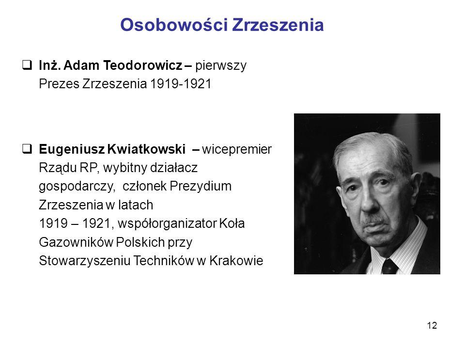 12 Osobowości Zrzeszenia  Inż. Adam Teodorowicz – pierwszy Prezes Zrzeszenia 1919-1921  Eugeniusz Kwiatkowski – wicepremier Rządu RP, wybitny działa